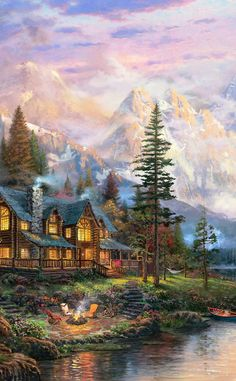 Cathedral Mountain Lodge Painting from Thomas Kinkade Studios Precious Moments Collection. Image Sizes 12 x 18 x 24 x and 28 x 2k Wallpaper, Thomas Kinkade Art, Kinkade Paintings, Thomas Kincaid, Art Thomas, Beautiful Paintings, Home Art, Scenery, Art Gallery