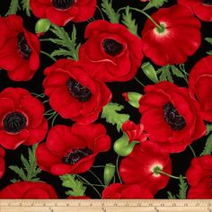 Flora Large Poppy Red from @fabricdotcom  Designed by Chong-a Hwang for Timeless Treasures, this cotton print features a floral motif.  Perfect for quilting, apparel and home décor accents.  Colors include black, shades of red and shades of green.
