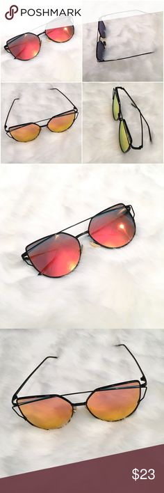 Multi colored Polarized Cat Eye Sunglasses New high quality, high fashion sunglasses. Polarized Red orange lens with black metal wire frame. Listed brand for exposure.  Total frame width:142mm Lens width:57mm Lens height:50mm Leg length:147mm Nose pitch:18mm  📦Fast Shipping! 💌Packaged with care 🛍10% off bundles   ⭐️20% of earnings are donated to the A21 campaign that works toward ending human trafficking  ❣️27 MILLION slaves worldwide- Most in history! -1-2% of victims are rescued -The…
