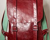 Wine/cherry colored eather backpack rucksack / To order