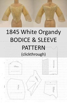 1845 White Organdy Bodice & Sleeve Pattern (clickthrough for full pattern and instructions)