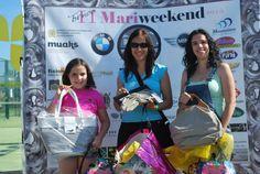 Tres de las ganadoras de un bolso de amarillolimon en el sorteo celebrado durante el Torneo Mariweekend