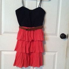 dress navy blue and pink dress with lace top and ruffles City Triangles Dresses Mini
