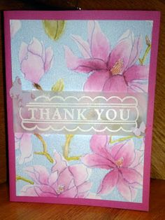 handmade card ... blossoms, gorgeous blossoms ... luv the colors inspired by Magnolia flower photo ... Distress Ink markers for coloring ... vellum belly bad with white embossed THANK YOU ... Hero Arts ...