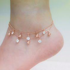 Anklet Jewelry Rose gold ankle bracelets rose gold anklet ankle bracelet by SFSea Ankle Jewelry, Cute Jewelry, Jewelry Accessories, Women's Jewelry, Jewelry Ideas, Jewelry Bracelets, Jewelry Making, Quartz Jewelry, Pearl Necklaces