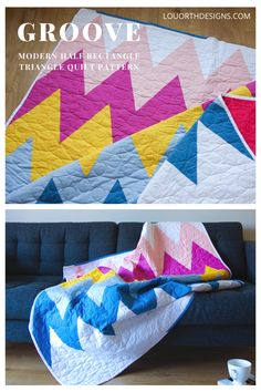 Half rectangle triangle quilt pattern that walks you through exactly how to cut and sew HRT blocks. 3 different sizes. Quilt design by Lou Orth Designs. . #quilt #modernquilt #hrt #chevronquilt #solids #halfrectangletriangles #quiltpattern