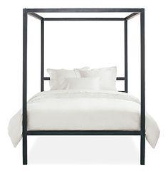 milo baughman four poster queen size, chrome canopy bed   queen