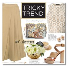 """""""Beige Pleated Culottes"""" by alialeola ❤ liked on Polyvore featuring Chloé, Dolce&Gabbana, Alexander McQueen, John-Richard, TrickyTrend and culottes"""