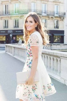 Floral Embroidered Creamy Organza Dress and Yves Saint Laurent bag create amazing look 2015.
