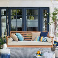 Belham Living Brighton Deep Seating Porch Swing Bed with Cushion - Being on Cloud 9 is as easy as taking a seat outside, and the Belham Living Brighton Deep Seating Porch Swing Bed with Cushion is a relaxing addition...
