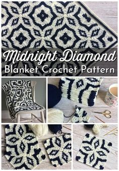 I love this black and white tile-inspired blanket crochet - Midnight Diamond Blanket Crochet Pattern. I love this black and white tile-inspired blanket crochet - Bag Crochet, Crochet Motifs, Manta Crochet, Crochet Afghans, Crochet Home, Crochet Blanket Patterns, Crochet Gifts, Knitting Patterns, Crochet Square Blanket