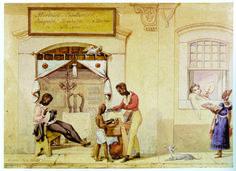 Barbeiroa ambulantes. DEBRET, Jean-Baptiste. Boutique de barbier. Rio de Janeiro, 1821. In: Voyage pittoresque et historique au Brésil. Paris, 1831