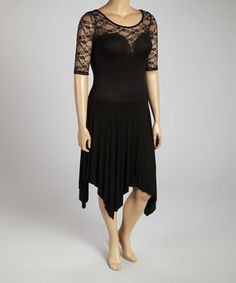 Black Lace Illusion Sweetheart Dress - Plus