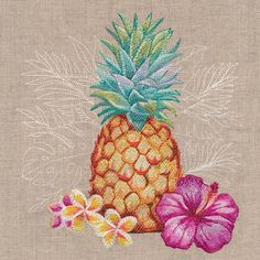 Heavenly Hibiscus and Pineapple design (M19087) from www.Emblibrary.com