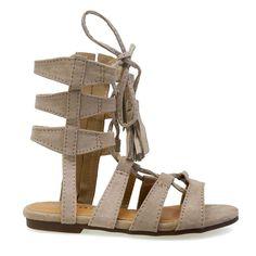 Impress-8K Kid's Sand Ankle Length Gladiator Strappy Lace Up Flat Sandals