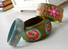 Mod Podge bangle bracelet