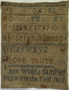 SMALL EARLY 19TH CENTURY ALPHABET SAMPLER BY ANN WOODS - 1815