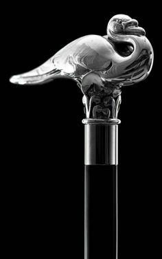 Swan Cane in silver plate as used by Hercule Poirot