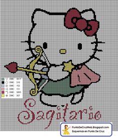 Punto De Cruz Horoscopo Hello Kitty Sagitario. www.puntodecruzweb.blogspot.com