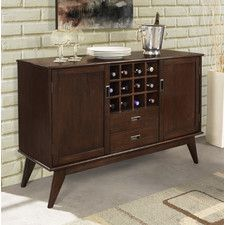 Draper Mid Century Sideboard Buffet and Wine Rack