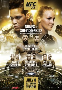 UFC 213: Nunes vs Shevchenko 2 for UFC women's bantamweight title is held on July 8, 2017 at T-Mobile Arena in Las Vegas, NV, USA.