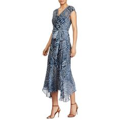 Polo Ralph Lauren Silk Gauze Wrap Dress featuring polyvore women's fashion clothing dresses block print blue print dress blue cap sleeve dress gauze dresses blue slip blue wrap dress