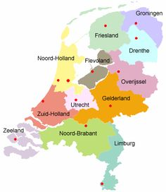 Provincies van Nederland - inwoners en vlag Provinces of Holland, inhabitants and flags Holland Map, Amsterdam Holland, Dutch Language, Going Dutch, School Hacks, Utrecht, Cartography, History, Kids