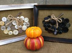 Upcycled Picture Frame  becomes a display for a Buttons n Burlap Pumpkin   #udderlysmooth #upcycle #pictureframes