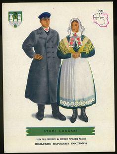 Man and woman wearing traditional clothes of Stroj Lubuski, Poland;Polish folk costumes