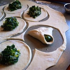 Spinach fatayir are a family favorite. My husband's grandmother made legendary fatayir, and while her recipe may be lost forever, m. Lebanese Cuisine, Lebanese Recipes, Portuguese Recipes, Turkish Recipes, Raw Food Recipes, Indian Food Recipes, Cooking Recipes, Ethnic Recipes, Arabic Recipes