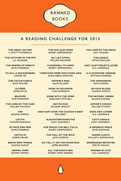 Banned books reading challenge - It was written for but better late than never, right? Books And Tea, I Love Books, Book Club Books, Good Books, Books To Read, My Books, Book Challenge, Reading Challenge, Challenge Accepted