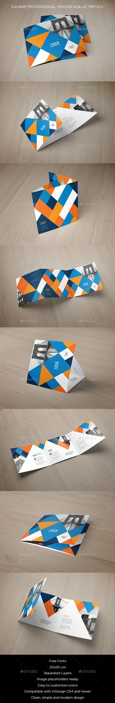 Square Professional Orange & Blue Trifold - #Brochures Print Templates Download here:  https://graphicriver.net/item/square-professional-orange-blue-trifold/20061775?ref=alena994