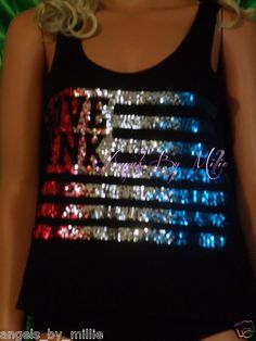 99 Cent #VSPINK auctions close Sunday! Worldwide shi & FREE USA Military Shipping! Victoria's Secret Pink XS Black American Flag Red Blue Silver Bling Tank Top | eBay
