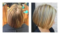 from brassy and dry to a beautiful cool blonde by Irma.  Dimensional color, highlights, bobcut