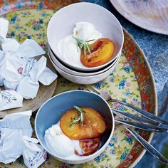 """""""Every house has an herb garden,"""" says Daniel Humm of Ticino, the southern region of Switzerland. Accordingly, he infuses roasted peaches with honey-r..."""