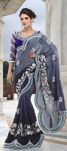 84832: Black and Grey color family Saree with matching unstitched blouse.