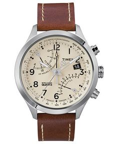 Timex Watch, Men's Premium Intelligent Quartz Fly-Back Chronograph Brown Leather Strap 43mm T2N932AB -- Lame brand?