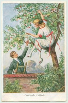 Art Postcard Couple Garden Cherry Tree Girl Picking Cherries by Kaskeline Cherry Baby, Cherry Tree, Vintage Couples, Romantic Couples, Cherry Picking, Cherries Jubilee, Mixed Berries, Couple Art, Magazine Art