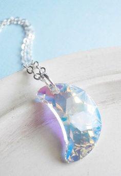 Swarovski Crystal Necklace Cresent Moon Charm
