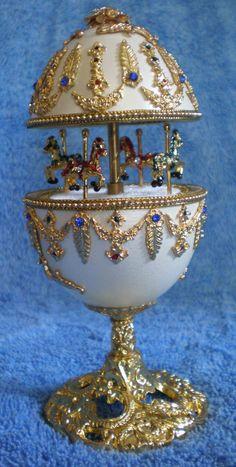 Royal White and Gold Carousel Goose Egg Music Box