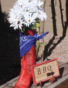 Image detail for -Make a Cowboy Boot Centerpiece @ La Dee Da Creations Western Party Centerpieces, Cowboy Boot Centerpieces, Centerpiece Ideas, Western Decorations, Shower Centerpieces, Table Decorations, Wedding Centerpieces, Cowboy Theme, Cowgirl Party