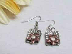 Daisy Copper Earrings, Mixed Metal Earrings, Gifts under $20, Made in Michigan