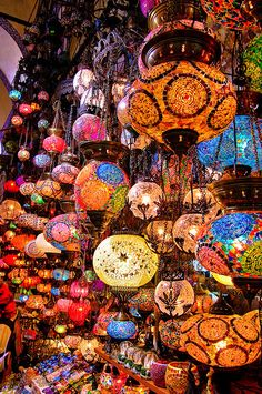 Colourful lamps at one of the shops in Grand Bazaar, Istanbul, Turkey