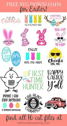 Free Happy Easter Y'all SVG for Cricut and Silhouette Crafts including Easter Decorations and Easter Shirts - Free Easter SVG File by Pineapple Paper Co. and 15 More FREE SVG Files! Easter Projects, Easter Crafts, Craft Projects, Preschool Crafts, Easter Ideas, Vinyl Projects, Christmas Crafts, Cricut Vinyl, Svg Files For Cricut