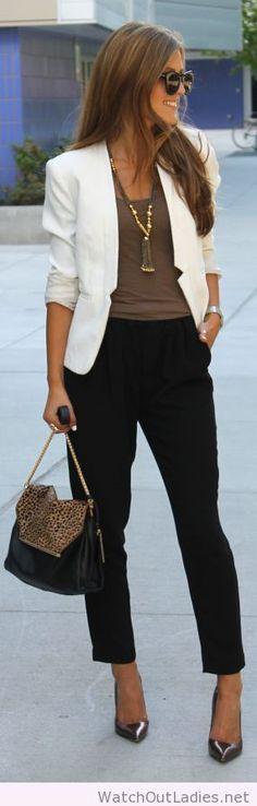 White blazer and black pants