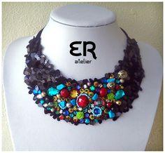 Colar 100% feito à mão/ Necklace 100% handmade | http://www.ednarochaatelier.com