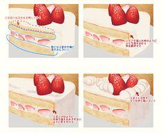 ショートケーキ いちご 苺 描き方 イラスト  Drawing Strawberry shortcake painting illustration