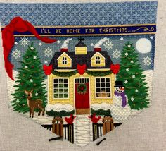 Rebecca Woods Needlepoint Stitches, Needlepoint Canvases, Needlework, Christmas Cross, Christmas Ornaments, Christmas Decorations, Needlepoint Christmas Stockings, Cross Stitch Patterns, Quilts