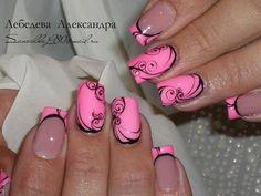 Super Cute Ideas for Summer Nail Art - Nailschick Swirl Nail Art, Pink Nail Art, Cool Nail Art, Pink Nails, Neon Nails, Pink Art, Great Nails, Fabulous Nails, Cute Nails