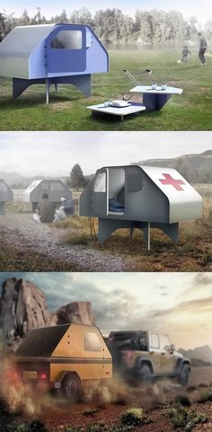 'Duffy's' a permanent tent, or a permatent! Crafted out of sheet metal, and just the right size, this shelter is perfect for outdoors, it sits on an elevation,  making it great for areas prone to flooding, it also lends itself to great emergency and disaster-relief related applications... READ MORE at Yanko Design !